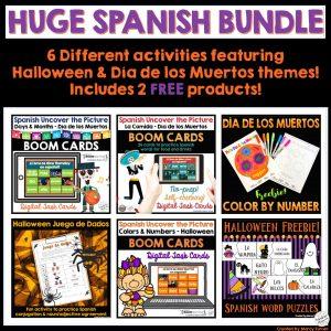 Spanish Halloween Día de los Muertos Activity Bundle Boom Cards and Printables
